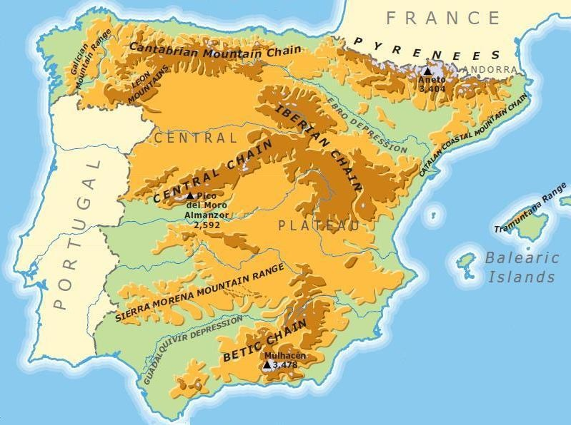 Map Of Spain Coast.Geography And Environment Spain